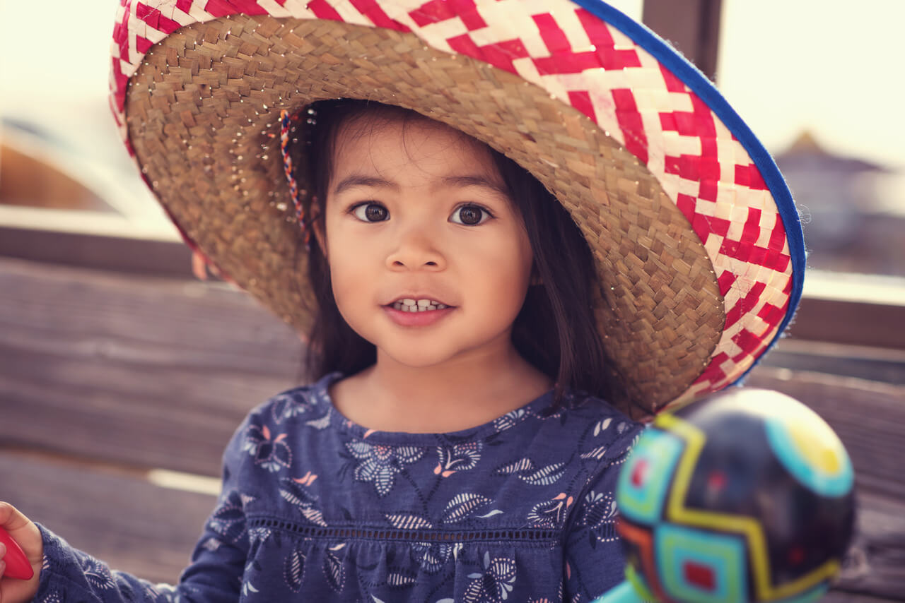 Young Girl Wearing a Sombrero