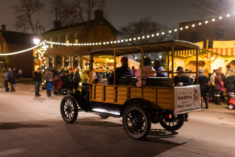 Model T rides on Main Street during Holiday Nights in Greenfield Village_Doug Coombe