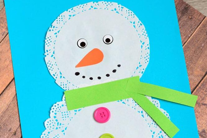 Drop-In Winter Crafts For Kids! Make An Adorable Doily Snowman