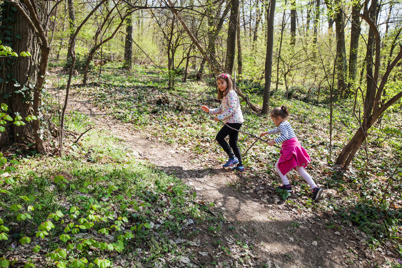 Two little girls hike in forest at spring day