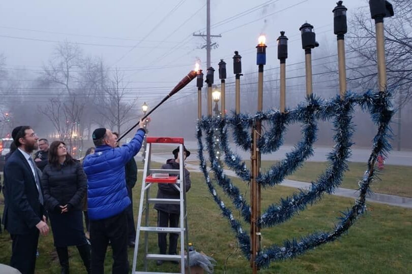 Outdoor Menorah Lighting