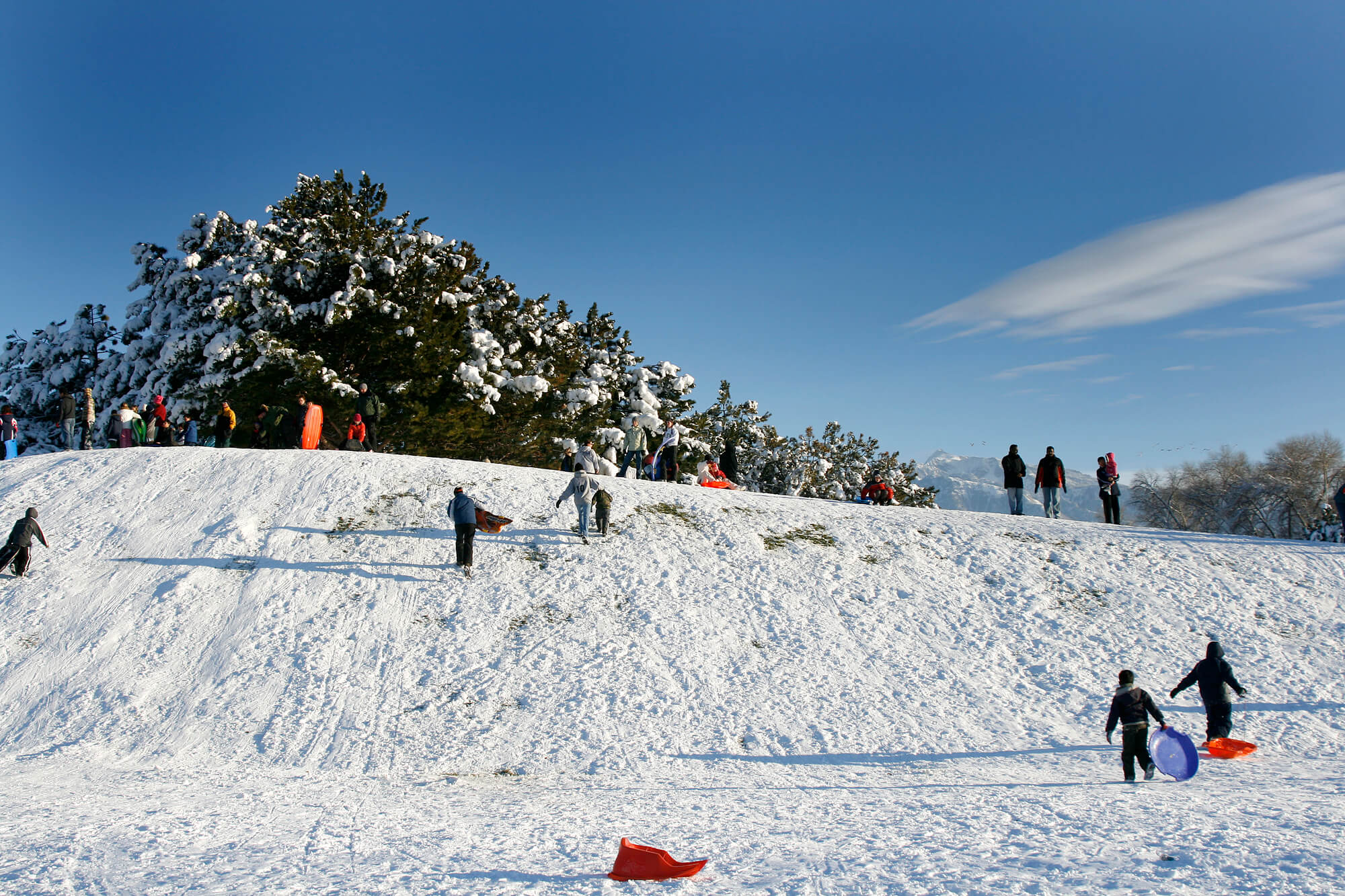 People Sledding down the Hill - Winter Scenes